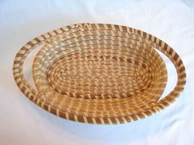 Vintage Low Country Charleston SWEET GRASS Handled Oval Basket - Hand Woven