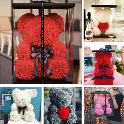 25/40cm Rose Bear Heart Artificial Rose Teddy Bear Women Valentine's Day Gift UK