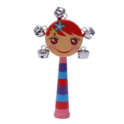 2X(1pc Baby Kids Rainbow Wooden Handle Bell Jingle Stick Shaker Rattle Toys O9Z8