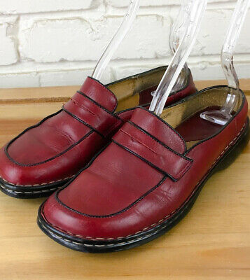BORN Supportive Loafers Mary Janes Mules  Slides Clogs Leather Red Shoes Size 6