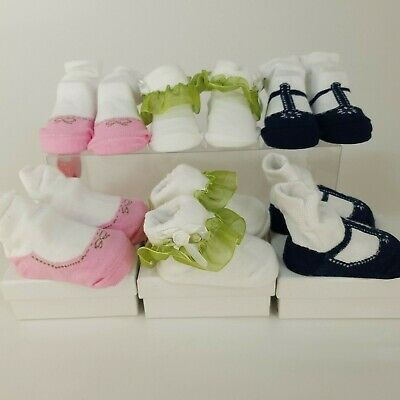 6 Pairs My London Girl Newborn Baby Socks 0-6 Months Frilly Individually Boxed