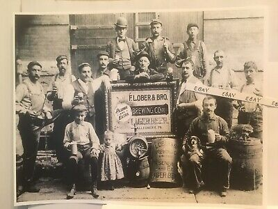 1890's Allegheny Pittsburgh Pa. Ober Beer Brewing Crew Boy Drinking Raccoon Rare