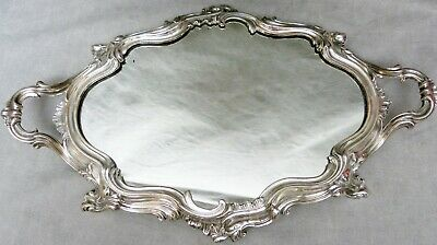 Antique Silver Plated Rococo Mirrored Plateau - French