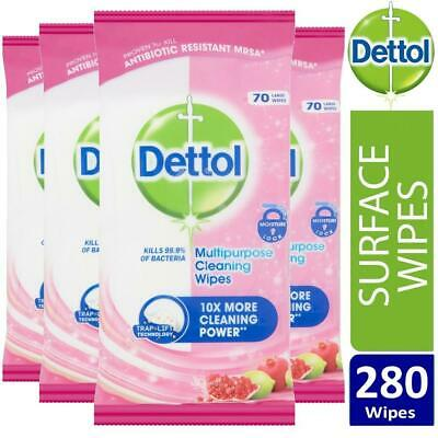 4 x Dettol Antibacterial Multipurpose Cleaning Pomegranate & Lime 70 Large Wipes