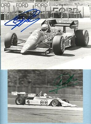 5 HAND-SIGNED F1 DRIVERS ORIGINAL PHOTOs -1980's> BRUNDLE, CECOTTO, HJ.STUCK etc