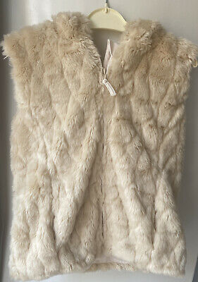 Girl's Nutmeg Cream Beige Furry Fluffy Gilet Bodywarmer Aged 10 Hooded (e11)