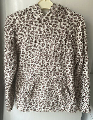 Girl's F&F Brown White Animal Print Hoodie Ears Fluffy Age 9 Long Sleeved (E12)