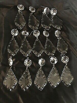 "Fourteen(14 )LARGE 4"" French Pendalogue Crystal Glass Prisms"