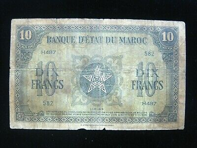MOROCCO 10 FRANCS 1943 P25 MAROC 582# Currency Bank Money Banknote