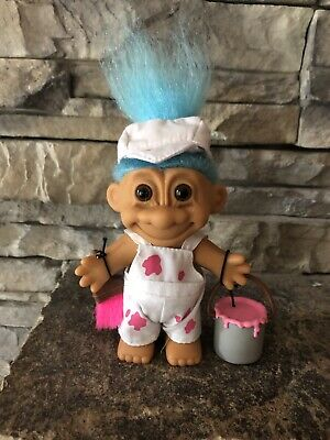 """Russ Troll Doll! 4 1/2"""" Blue Hair Brown Eyes! Painter! Outfit And Accessories!"""