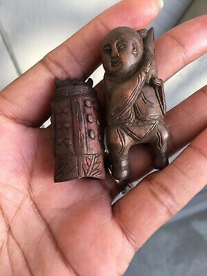 Rare Antique Asian Japanese Chinese Exquisitely Carved Wood Figure Beads
