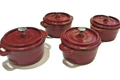 Wolfgang Puck Cast Iron Cocottes Set, Red. Set Of 4, New