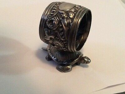 Antique Figural Napkin Holder Ring Turtle Floral No Mono Silverplate