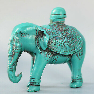 Collect China Old Turquoise Hand-Carved Lovely Elephant Bring Luck Snuff Bottle