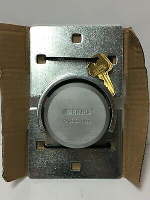 Brinks Hidden Hardened Steel Shackle Puck Lock and Hasp Combo w/ Two Keys