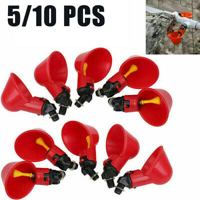 5/10Pc Automatic Waterer Drinker Cups Chicken Coop Poultry Bird Turkey Drink Cup