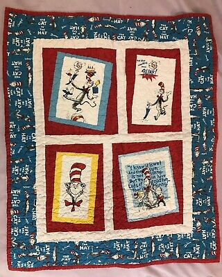 "Handmade Dr Seuss Cat in the Hat Quilt 36"" x 30"""