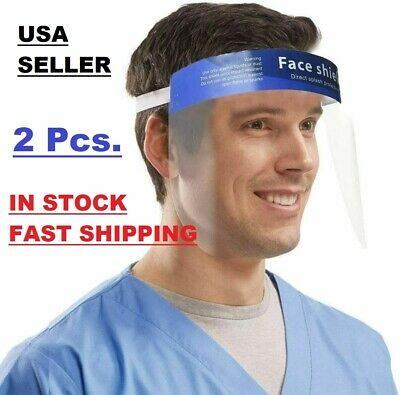 2 Pcs Reusable Safety Face Shield Full Protection Clear Anti-fog Visor Guard NEW