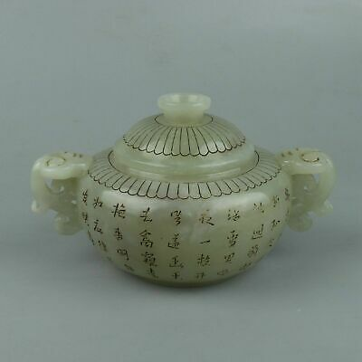 Chinese Exquisite Hand carved Hetian jade teapot