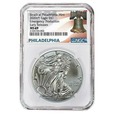 2020 (P) $1 American Silver Eagle NGC MS69 Emergency Production ER Liberty Bell