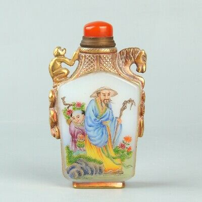 Chinese Exquisite Handmade Old man child Glass Gilt snuff bottle