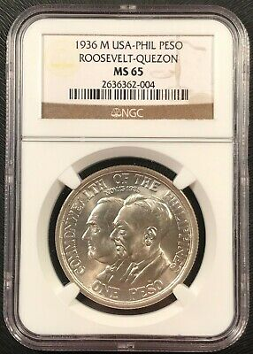 1936 Philippines 1 Peso Silver Coin NGC MS-65 Roosevelt Quezon