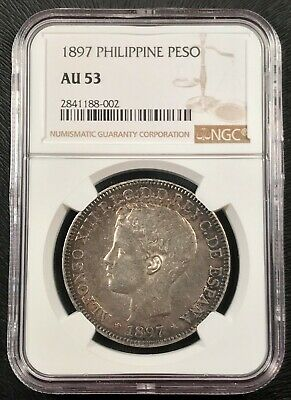 1897 Spanish Philippines 1 Peso Silver Coin NGC AU-53 Colorful Patina