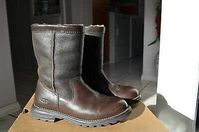 Ugg Brooks Tall Brown Shearling Leather/ Sheepskin Lined Boots Size 5
