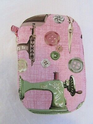 Travel Fabric Pouch Sewing Kit Ornate Scissors Sewing Kit Sewing Machine Theme
