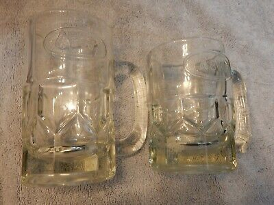 Vintage A&W Root Beer Mugs child and adult size raised dot design