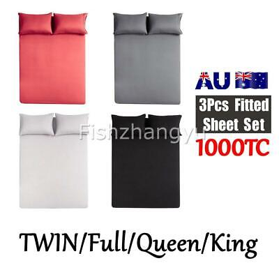 1000TC Ultra SOFT FITTED Sheet Pillowcase Set No Flat Queen/King/Twin/Full Bed