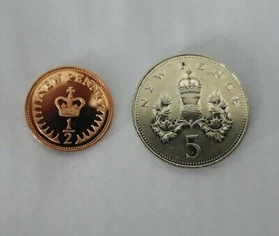 1972 1/2 Pence And 5p Coins.