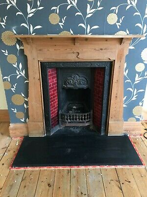 Cast Iron Red Tiled Victorian Fireplace With Timber Surround