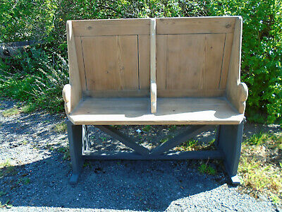 vintage antique pitch pine bench