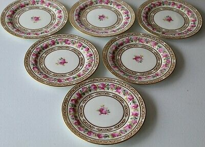 Cauldon England Gorgeous Antique Set Of Six Dinner Plates