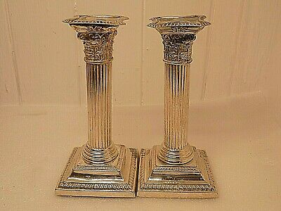 English Sterling Silver Weighted Corinthian Column Candlesticks. 618 Grams. (Ncb