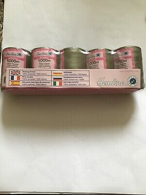 Hemline 1000m Sewing/overlocking Thread 100% Polyester Pack Of 5 Olive