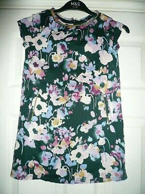 Gap girl's floral /gold Dress Age 6-7 yrs navy/pink/lilac cotton - fab con
