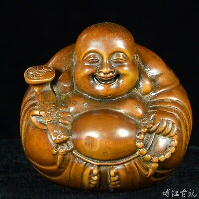 Collection China Old Boxwood Hand-Carved Happy Maitreya Buddha Auspicious Statue