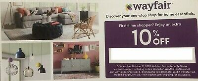 Wayfair Offer 10% Off Online Code Expires 7/31/2020 1st Order Only