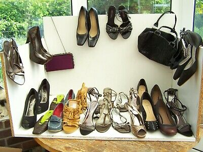 Women's/ladiesshoes/ boots job lot/bundle 17 pairs shoes and  2 bags