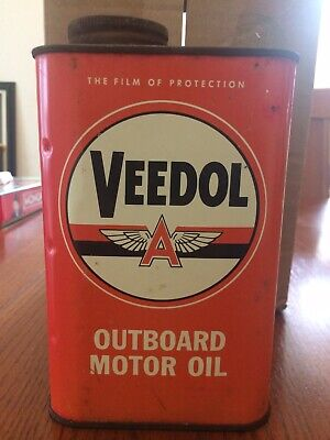 Vintage 1950s Veedol Flying A Outboard Motor Oil Can