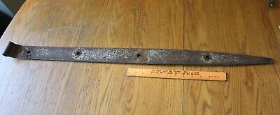 1 Rusty Wrought iron hinge strap barn decor Vintage Antique hand wrought 37.5""