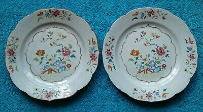 A Pair of Antique 18th C Chinese Export Porcelain Plates. Famille Rose Qianlong