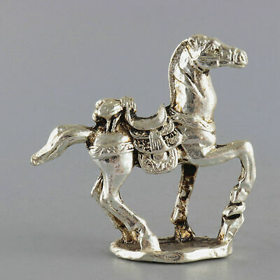 Collectable China Old Miao Silver Hand-Carved War Horse Delicate Decorate Statue