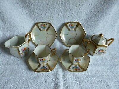 Antique vintage hand painted made in Japan oriental hexagonal china cups saucers