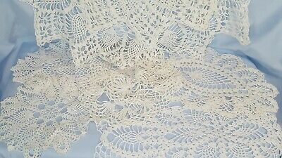 "VINTAGE Lace & Doily LOT of 6 White Pineapple 30"" Table, Ovals, Round 10"" to 17"""
