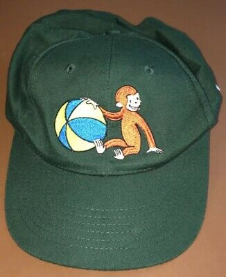 Curious George with Beach Ball Green Embroidered Baseball Hat Ball Cap