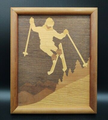 Vintage Inlay Wooden Marquetry Skier Framed Brown Colors Artwork Wall Hanging
