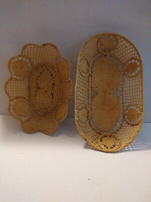 Vintage Delicate Hand Woven Wicker Weave Pair of Collectible Intricate Baskets